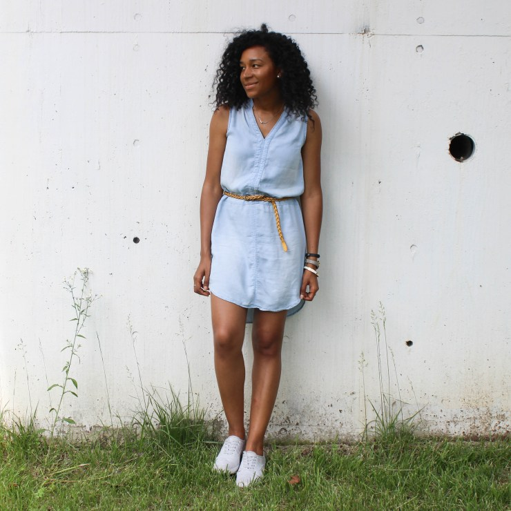 Thrifted Chambray Shirt Dress-0482