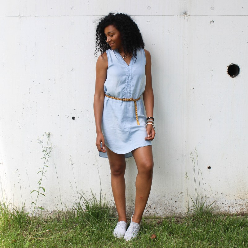 Thrifted Chambray Shirt Dress-0501