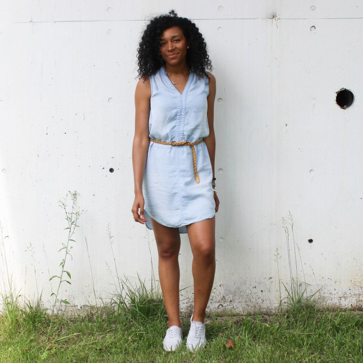 Thrifted Chambray Shirt Dress-0542