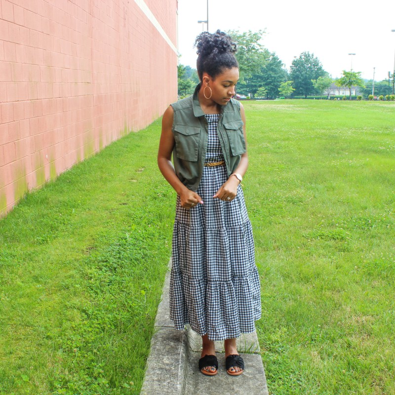 Gingham Midi Dress with Utility Vest-1315