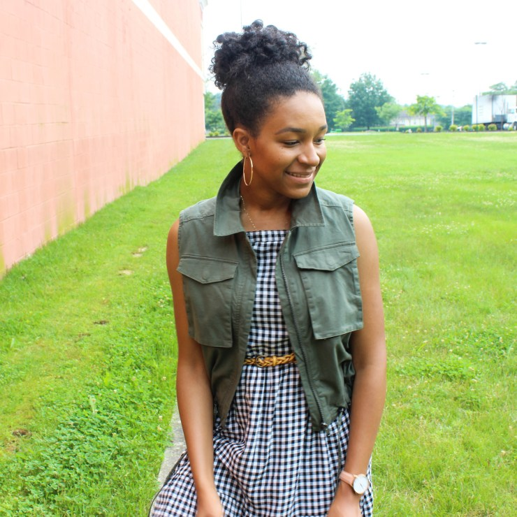 Gingham Midi Dress with Utility Vest-1358