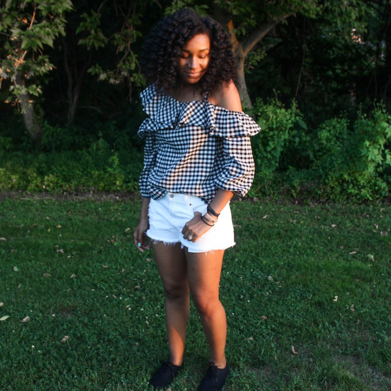 Gingham OTS Express Top white shorts-2194