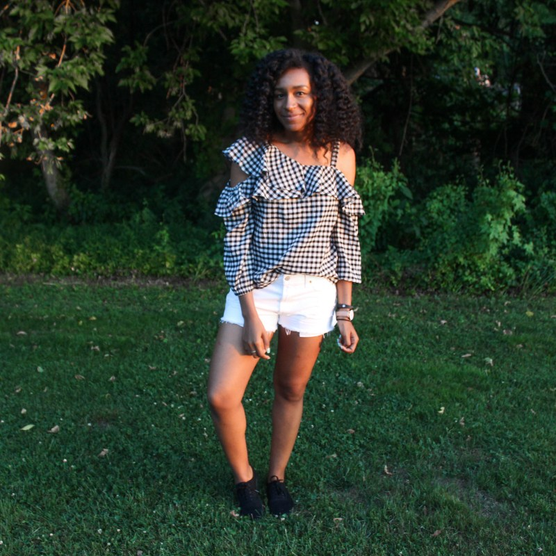 Gingham OTS Express Top white shorts-2222