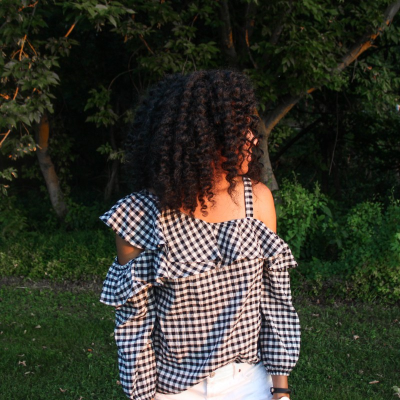 Gingham OTS Express Top white shorts-2289