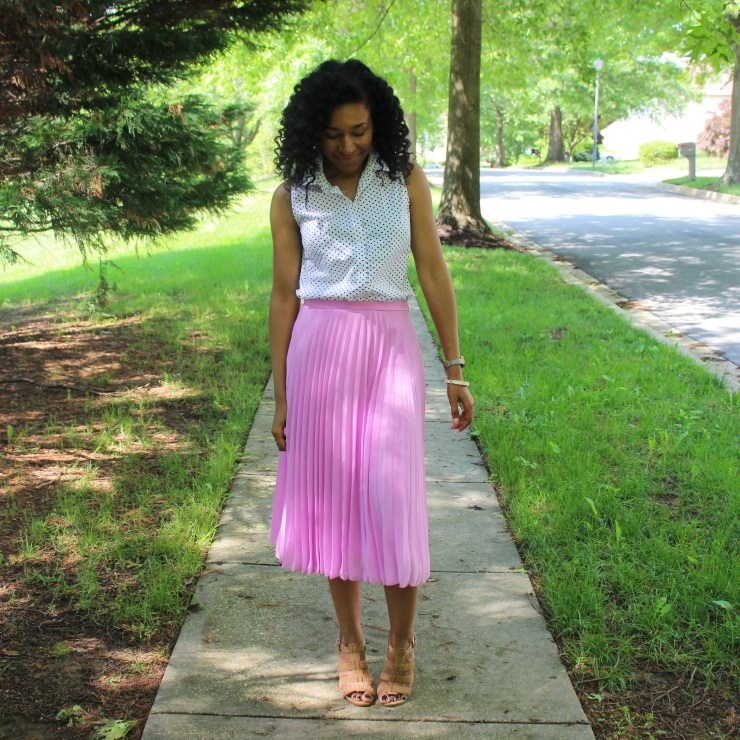 Polka Dot Shirt with Pink Midi Skirt-0184