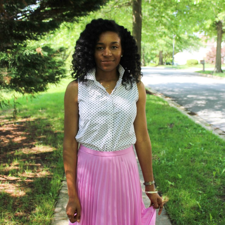 Polka Dot Shirt with Pink Midi Skirt-0309
