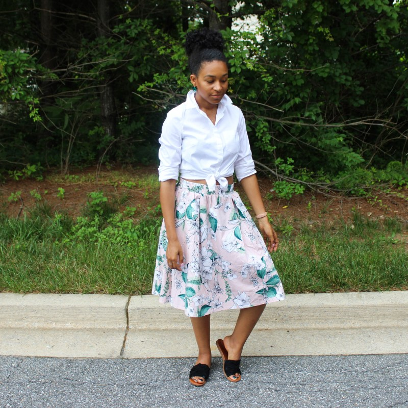 White Shirt with Pink Floral Midi Skirt-0754