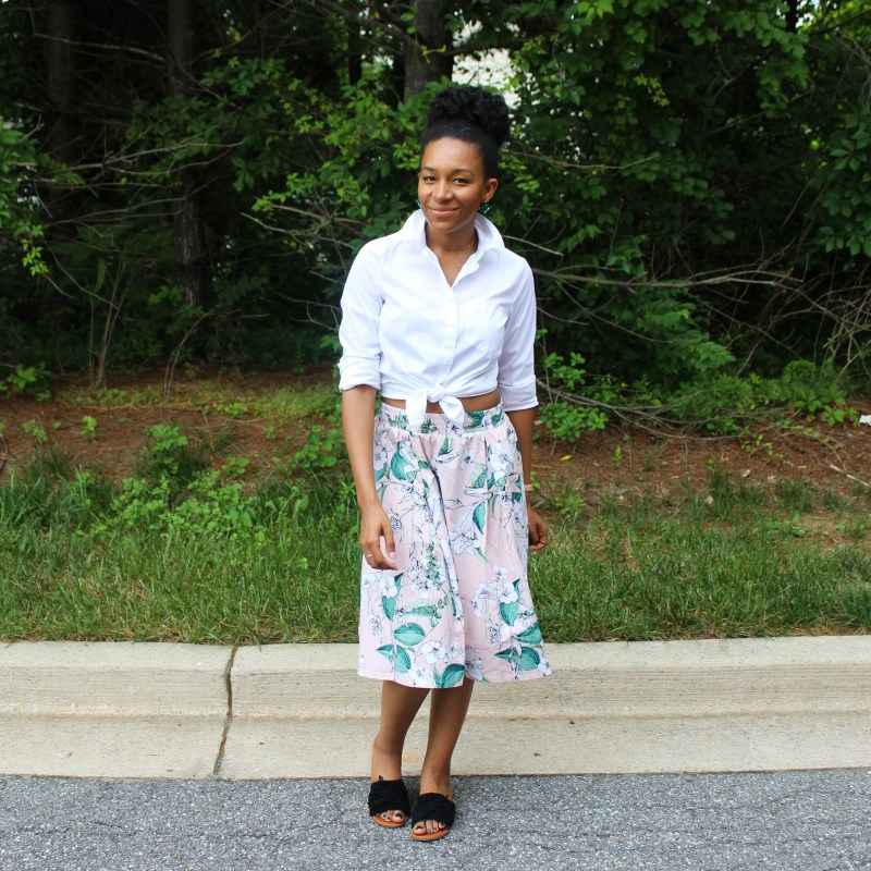 White Shirt with Pink Floral Midi Skirt-0765