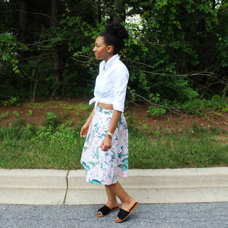 White Shirt with Pink Floral Midi Skirt-0770