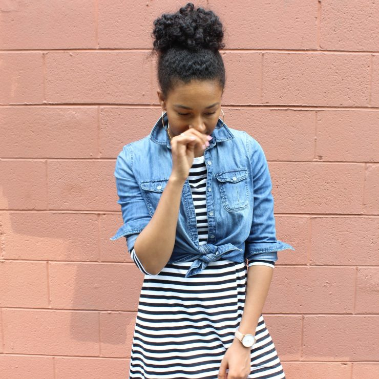 Striped Dress with Denim Shirt-1801