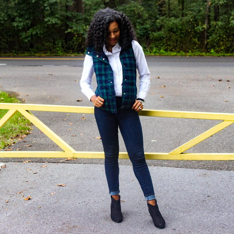 Old Navy Plaid Vest with White J-Crew Oxford-8