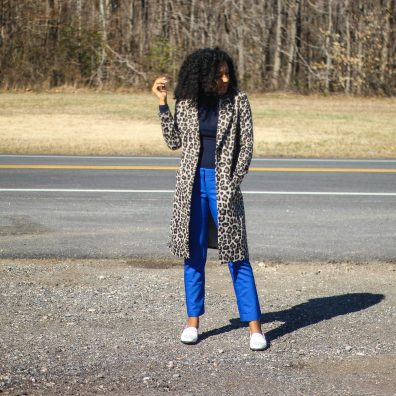 Leopard Coat Blue Pants-5332