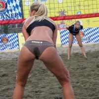 Sweaty beachvolley wet panty on sexy blonde