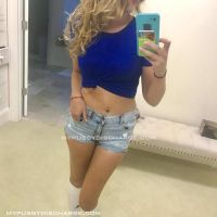 Blonde teen taking selfies with creamy panties