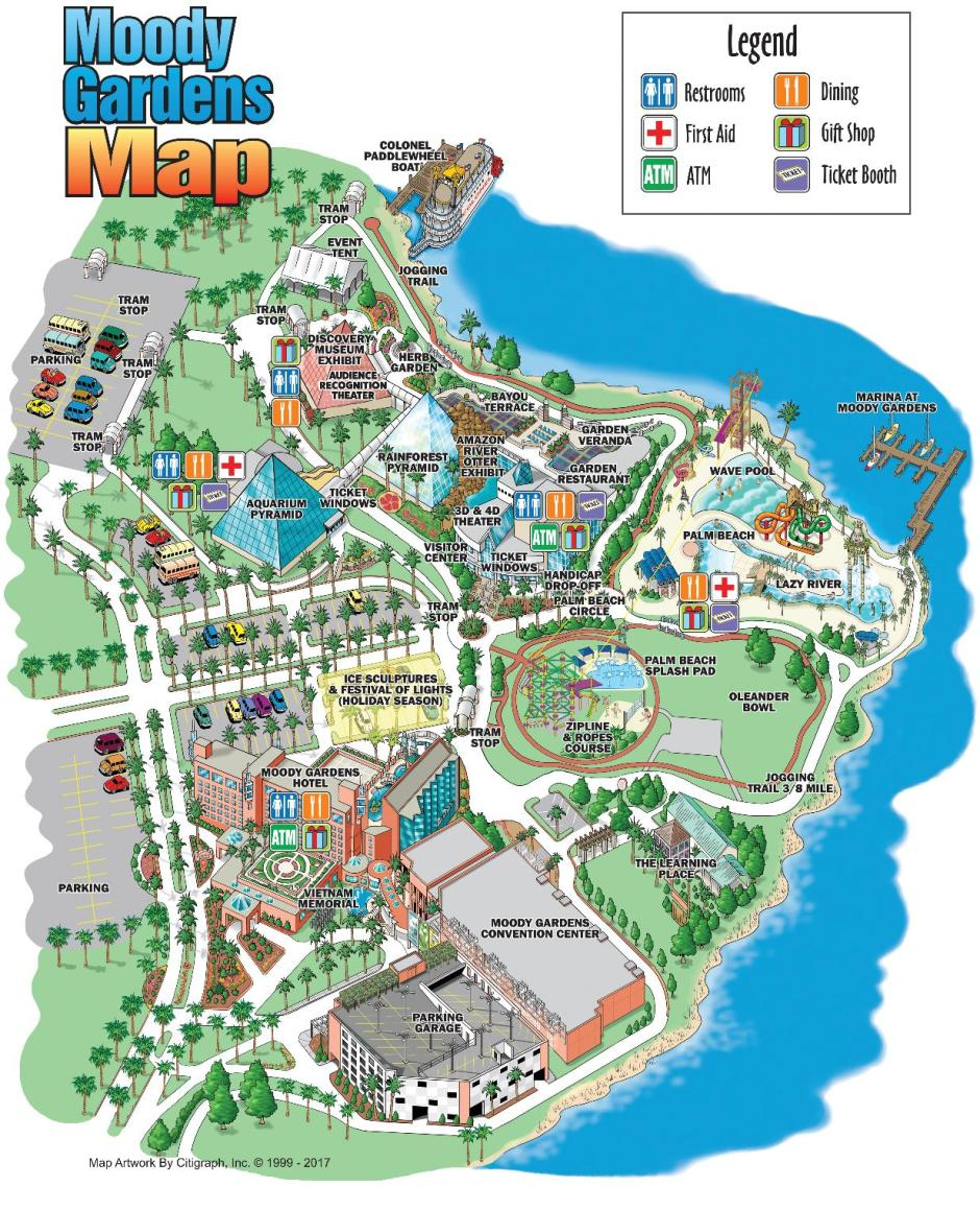Moody Gardens Property Map Image - How Much Does Moody Gardens Cost