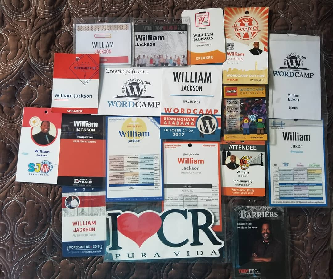 Badges from conferences spoken and attended