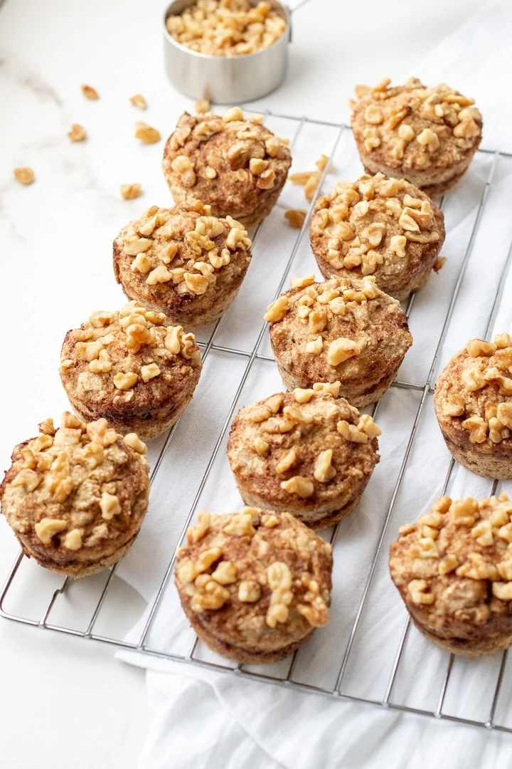 Overhead view of banana walnut muffins on a cooling rack