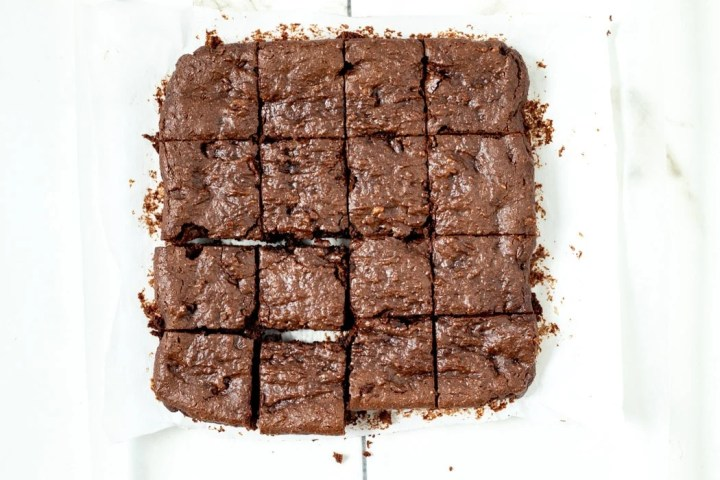 overhead view of peanut butter brownies after having been cut