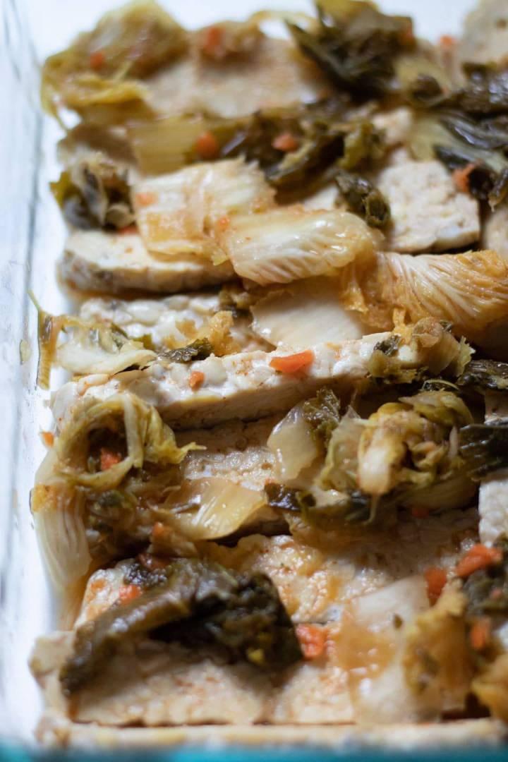 Kimchi Marinated Tempeh Wraps