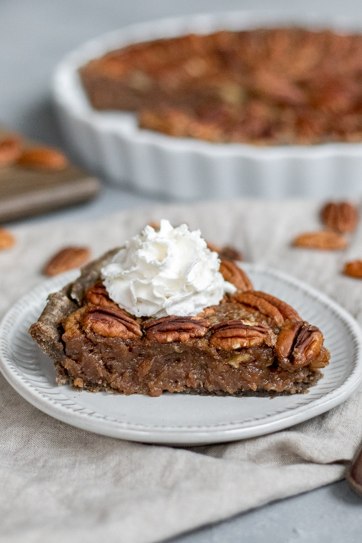 Vegan Bourbon Pecan Pie with non-dairy Redi-wip