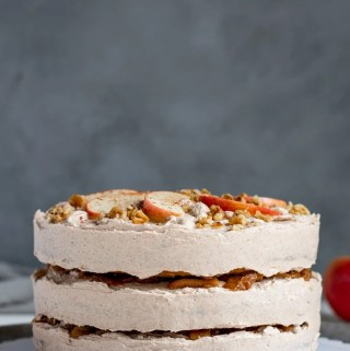 Vegan Apple Layer Cake With Bourbon Apple Filling and Cinnamon Buttercream
