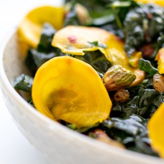 Kale and Golden Beet Salad in a white bowl