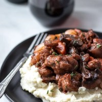 Vegan Seitan Bourguignon With Rosemary Cauliflower Mash