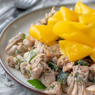 Deceptively light and nutritious, this vegan jackfruit salad is made with fresh dill, mango, lemon zest and roasted poblano pepper. Perfect as an appetizer, side dish, or add plant-based protein + whole grains for a satisfying meal. #jackfruit #vegan #oilfreemayo #mango #appetizer #partyfood