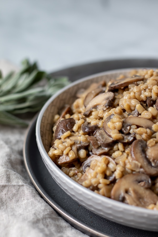 Mushroom Sage Orzotto in a gray bowl