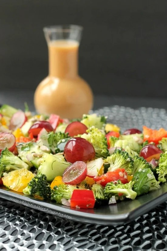 Raw Chopped Veggie Salad on a serving tray