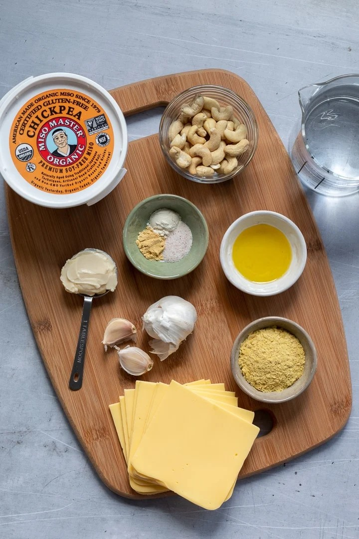 Ingredients for the best vegan stovetop mac and cheese