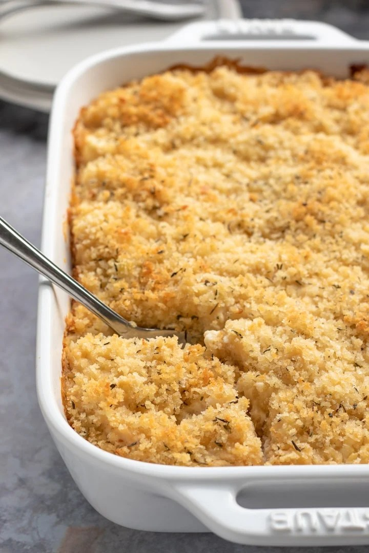 Vegan cauliflower gratin in a white baking dish