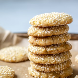 stack of vegan tahini cookies