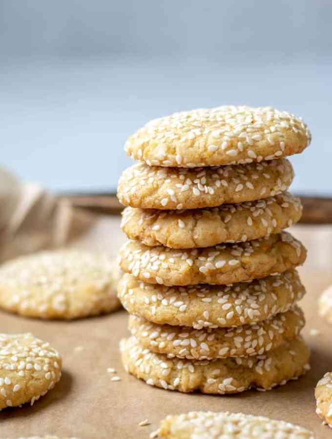 stack of vegan tahini cookies