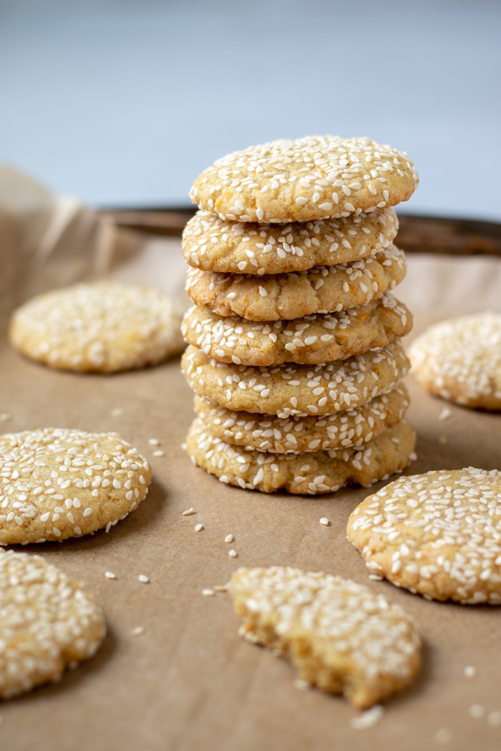 vegan orange-tahini cookies stacked