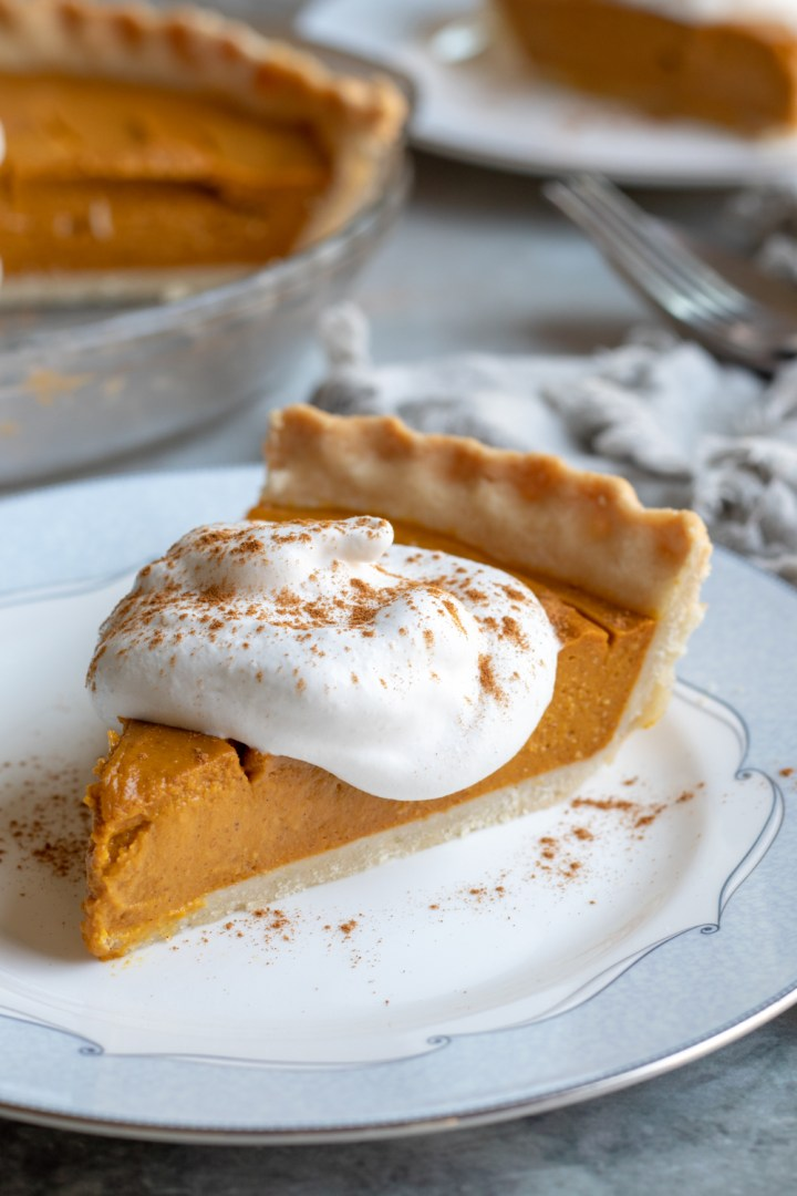 a slice of healthy and easy vegan pumpkin pie