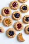 oil-free vegan thumbprint cookies on a serving platter