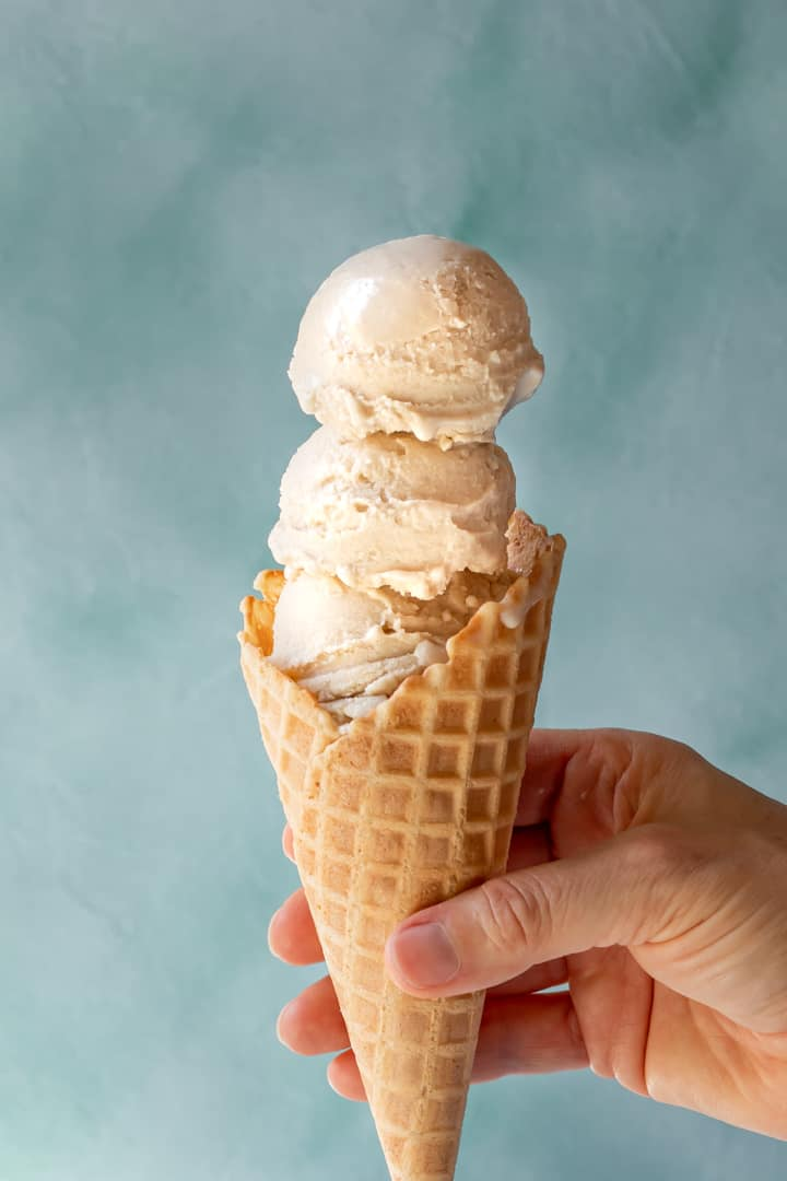 Vegan Vanilla-Maple Ice Cream in a waffle cone