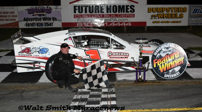 Bobby Jones withstands the intense challenge from Kyle Strohl for 75-lap Mahoning Modified win