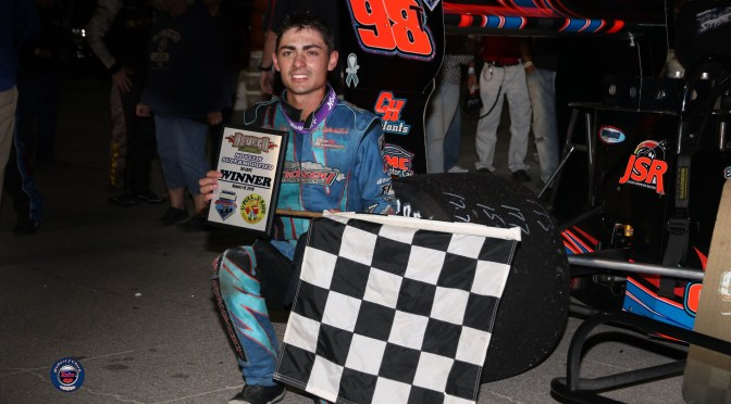 History Maker – Tyler Thompson Breaks Track Record; Becomes Youngest Novelis Supermodified Feature Winner at Oswego Speedway