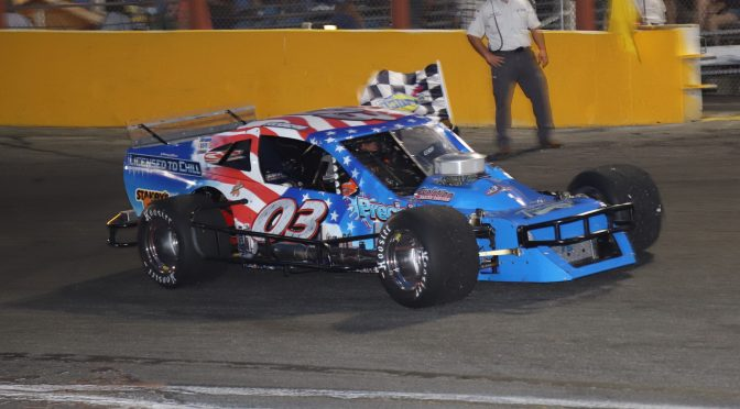 EARLY RACE PASS PROPELS TOM ROGERS JR. TO RIVERHEAD RACEWAY OPENING NIGHT 50-LAP NASCAR MODIFIED VICTORY