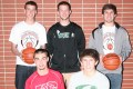 Members of the 2012 All-Area boys basketball first team are: (front from left) Brett Van Vreede, Union Grove; Chris Benavides, Waterford; (back row) Carson Biedrzycki, Burlington; Dustin Schindler, Waterford; and Eric Gerber, Burlington High School. Gerber is the 2012 All-Area Player of the Year. (Photo by Jennifer Eisenbart)