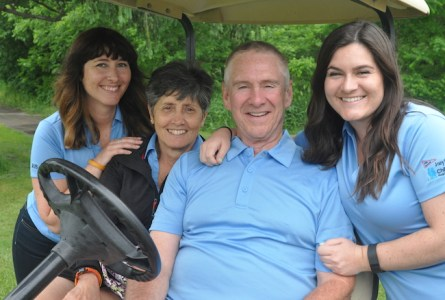 The O'Brien Family, Cara (from left), Cyndi, Kevin and Lacee gather for a photo during the 2016 Joey O'Brien Memorial Golf Outing at Browns Lake Golf Course. The family was honored Monday with the Burlington Rotary Club Humanitarian Award for efforts to raise funds for childhood cancer research and local scholarships. (Photo by Ed Nadolski)