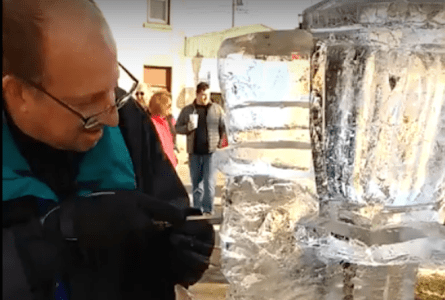 VIDEO: Ice sculptor discusses his project for Burlington's Ice Festival