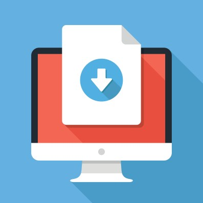 Document download button on computer screen. Document icon and desktop PC. Downloading files concepts, graphic elements. Modern flat design vector illustration