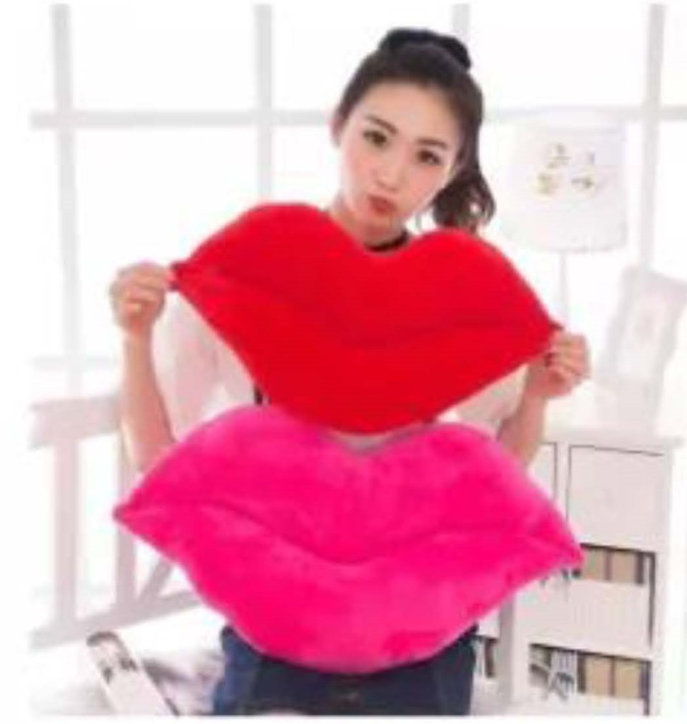 Plush Lips from Lazada, available in Red or Pink