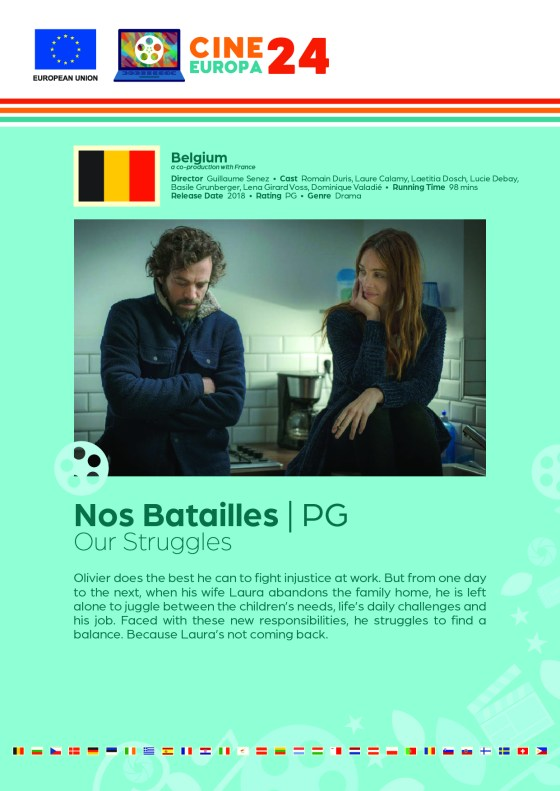 Poster giving synopsis for the European film Nos Batailles (Our Struggles) an entry in the Cine Europa 24 Film Festival