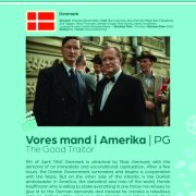 Poster giving synopsis for the European film Vores mand i Amerika (The Good Traitor), an entry in the Cine Europa 24 Film Festival