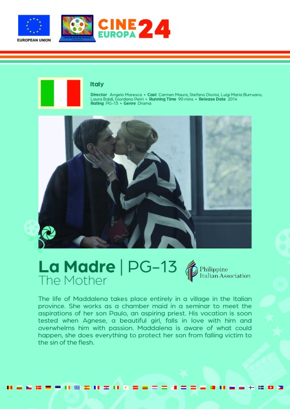 Poster giving synopsis for the European film The Mother, an entry in the Cine Europa 24 Film Festival