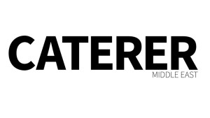 Logo for the online publication Caterer Middle East, white background with Caterer Text in Black